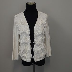 Chico's off white fringe open front cardigan